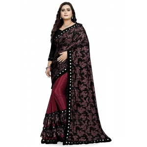 Generic Women's Lycra Blend Sarees (Red And Brown , 5-6Mtrs)
