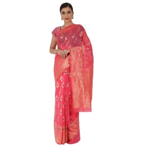 Generic Women's Cotton Sarees (Tomato Red , 5-6Mtrs)