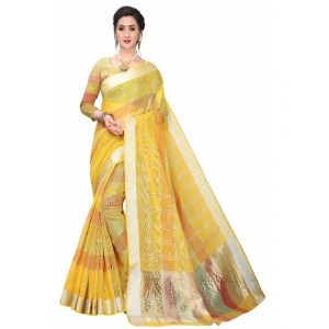 Generic Women's Cotton Blend Sarees (Yellow , 5-6Mtrs)
