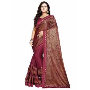 Generic Women's Lycra Blend Sarees (Red , 5-6Mtrs)