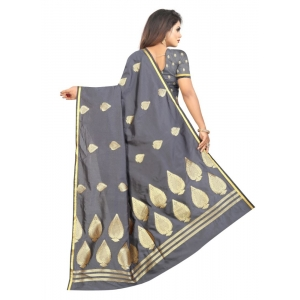 Generic Women's Jacquard Sarees (Greay , 5-6Mtrs)