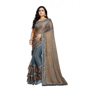 Generic Women's Lycra Blend Sarees (Greay And Brown , 5-6Mtrs)