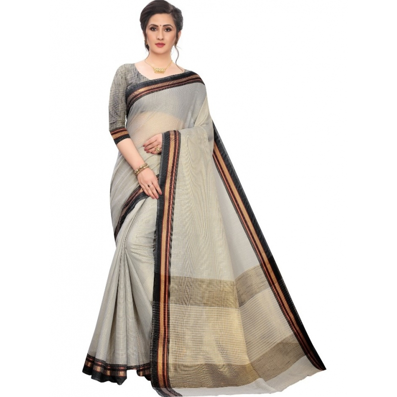 Generic Women's Cotton Silk Sarees (Greay , 5-6Mtrs)