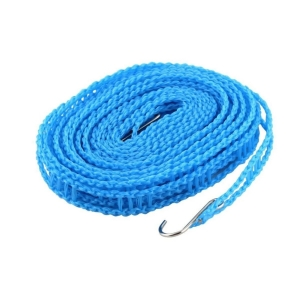Generic Pack of 2_5 Meters Windprood Anti-Slip Clothes Washing Line Drying Nylon Rope with Hooks (Color: Assorted)