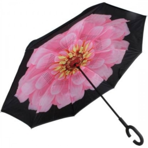Generic C Shaped Handle Double Layer Inverted Colourful Umbrella (Color: Assorted)