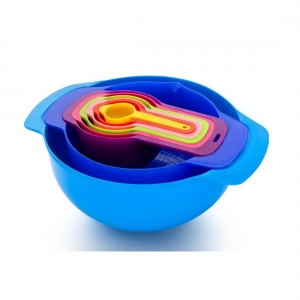 Generic 8 Piece Nesting Bowls with Measuring Cups Set (Color: Assorted)