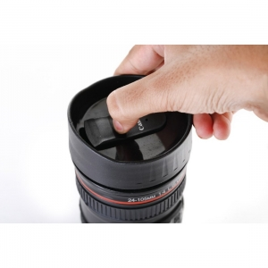 Generic Camera Lens Shaped Coffee Mug Flask With Lid (Color: Assorted)