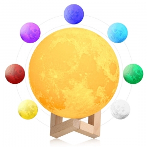 Generic 3D 7 Color Changing Moon Night Lamp (Color: Assorted)