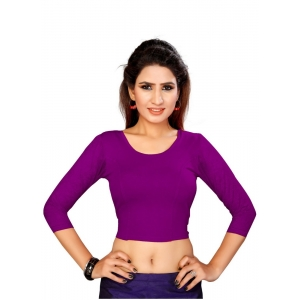 Generic Women's Stretchable Readymade Blouse Cotton Lycra (Size-Free Size ,Neck Type-Round)