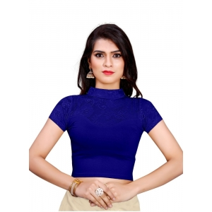 Generic Women's Stretchable Readymade Blouse Cotton Lycra (Size-Free Size ,Neck Type-Collar)