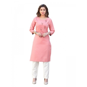 Generic Women's Party  wear Hevy Embroidery Cotton Kurtis With 3/4 sleeves (Pink)
