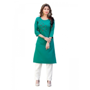 Generic Women's Party  wear Hevy Embroidery Cotton Kurtis With 3/4 sleeves (Turquoise Blue)
