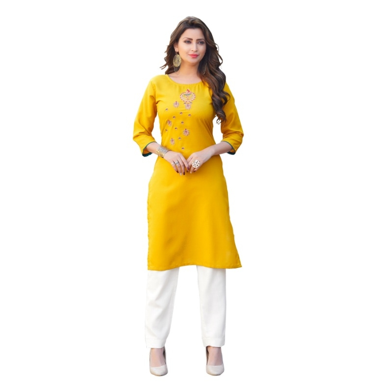 Generic Women's Party  wear Hevy Embroidery Cotton Kurtis With 3/4 sleeves (Yellow)