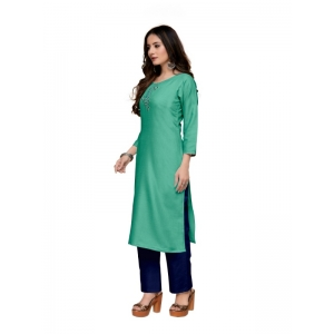 Generic Women's Party  wear Hevy Embroidery Cotton Kurtis With 3/4 sleeves (Turquoise Light Green)