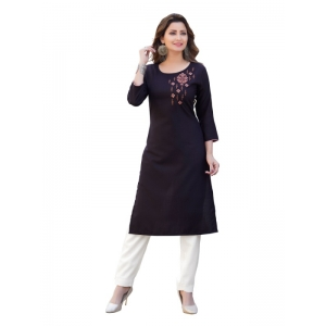 Generic Women's Party  wear Hevy Embroidery Cotton Kurtis With 3/4 sleeves (Brown)