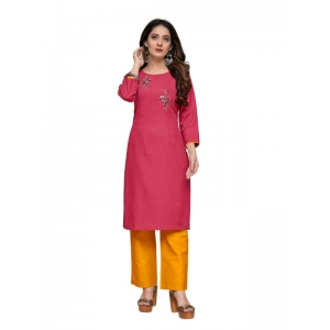 Generic Women's Party  wear Hevy Embroidery Cotton Kurtis With 3/4 sleeves (Red)