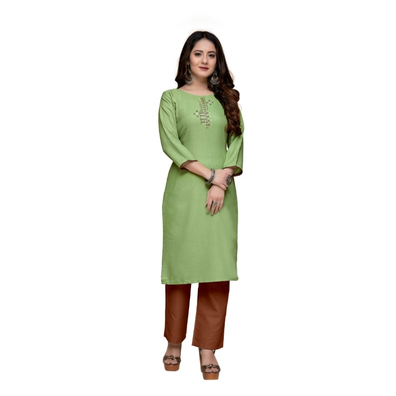 Generic Women's Party  wear Hevy Embroidery Cotton Kurtis With 3/4 sleeves (Turquoise Green)