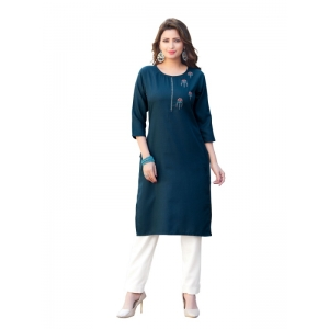 Generic Women's Party  wear Hevy Embroidery Cotton Kurtis With 3/4 sleeves (Navy Blue)