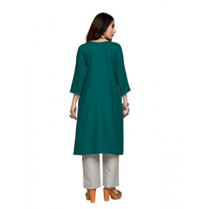 Generic Women's Party  wear Hevy Embroidery Cotton Kurtis With 3/4 sleeves (Turquoise Dark Green)