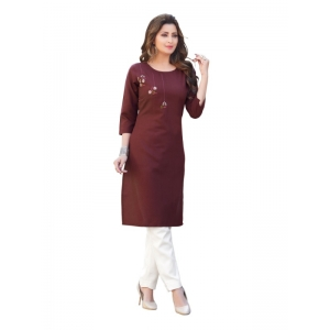 Generic Women's Party  wear Hevy Embroidery Cotton Kurtis With 3/4 sleeves (Coffee Brown)