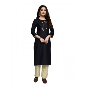 Generic Women's Party  wear Hevy Embroidery Cotton Kurtis With 3/4 sleeves (Dark Brown)