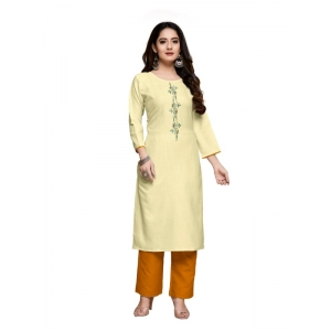 Generic Women's Party  wear Hevy Embroidery Cotton Kurtis With 3/4 sleeves (Light Yellow)