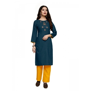 Generic Women's Party  wear Hevy Embroidery Cotton Kurtis With 3/4 sleeves (Rama)