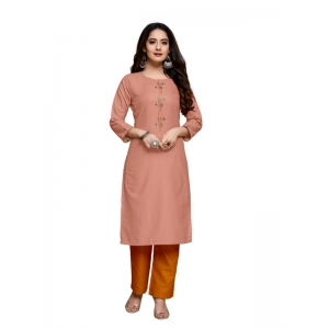 Generic Women's Party  wear Hevy Embroidery Cotton Kurtis With 3/4 sleeves (Peach)