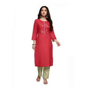 Generic Women's Party  wear Hevy Embroidery Cotton Kurtis With 3/4 sleeves (Tomato Red)
