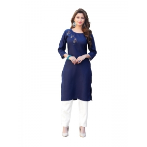 Generic Women's Party  wear Hevy Embroidery Cotton Kurtis With 3/4 sleeves (Blue)