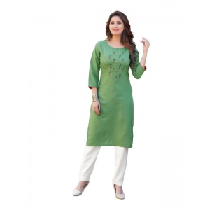 Generic Women's Party  wear Hevy Embroidery Cotton Kurtis With 3/4 sleeves (Green)