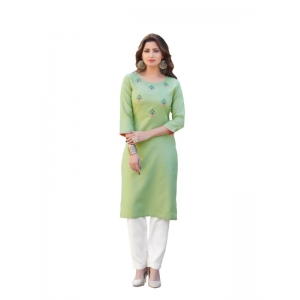 Generic Women's Party  wear Hevy Embroidery Cotton Kurtis With 3/4 sleeves (Sea Green)