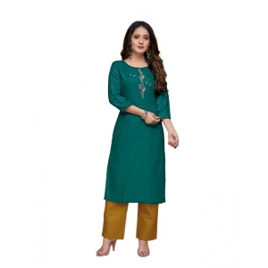 Generic Women's Party  wear Hevy Embroidery Cotton Kurtis With 3/4 sleeves (Dark Green)
