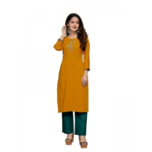 Generic Women's Party  wear Hevy Embroidery Cotton Kurtis With 3/4 sleeves (Mustard)