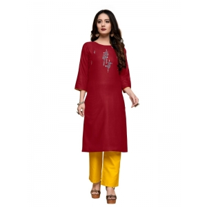 Generic Women's Party  wear Hevy Embroidery Cotton Kurtis With 3/4 sleeves (Maroon)