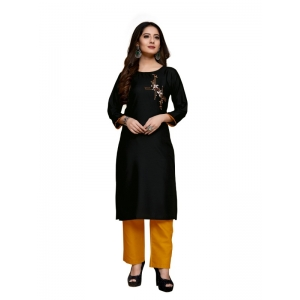 Generic Women's Party  wear Hevy Embroidery Cotton Kurtis With 3/4 sleeves (Black)