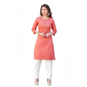 Generic Women's Party  wear Hevy Embroidery Cotton Kurtis With 3/4 sleeves (Rose)