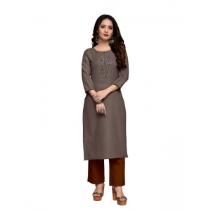 Generic Women's Party  wear Hevy Embroidery Cotton Kurtis With 3/4 sleeves (Dark Greay)