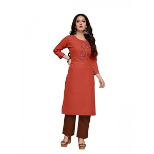Generic Women's Party  wear Hevy Embroidery Cotton Kurtis With 3/4 sleeves (Light Maroon)