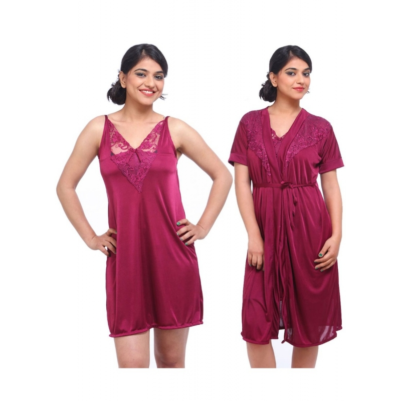 Women's Satin 2 PCs Set Of Nighty And Wrap Gown with Half Sleeve Nightdress(Color: Wine, Neck Type: V Neck)