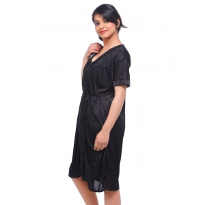 Women's Satin 2 PCs Set Of Nighty And Wrap Gown with Half Sleeve Nightdress(Color: Black, Neck Type: V Neck)