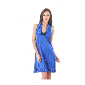 Women's Satin Short Nighty with Sleeve Less(Color: Royal Blue Black, Neck Type: Halter Neck)
