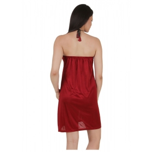 Women's Satin Short Nighty with Sleeve Less(Color: Maroon, Neck Type: Halter Neck)