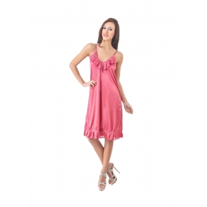 Women's Satin Short Nighty with Sleeve Less(Color: Coral Pink, Neck Type: V Neck)