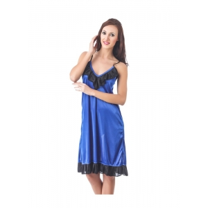 Women's Satin Short Nighty with Sleeve Less(Color: Black & Royal Blue, Neck Type: V Neck)