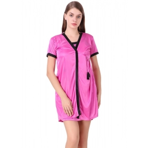 Women's Satin Short Wrap Gown with Half Sleeve(Color: Pink & Black, Neck Type: V Neck)