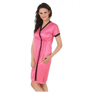 Women's Satin Short Wrap Gown with Half Sleeve(Color: Coral Pink, Neck Type: V Neck)