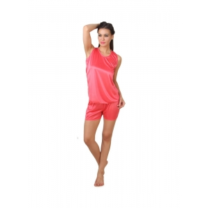 Women's Satin Top And Shorts Set with Sleeve Less(Color: Pink, Neck Type: V Neck)
