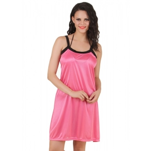 Women's Satin Short Nighty with Sleeve Less(Color: Coral Pink, Neck Type: Square Neck)