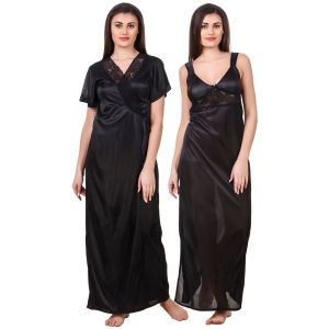 Women's Satin 2 PCs Set of Nighty And Wrap Gown with Half Sleeve(Color: Black, Neck Type: Sweatheart Neck)